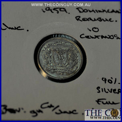 1959 Dominican Rep 10 Centavos Native Princess UNC 90 % Silver