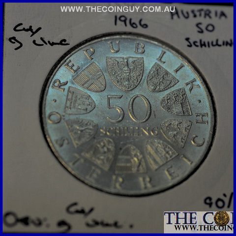 1966 Austria 50 Schillings 150Th Anniv National Bank G/CH UNC 90 % Silver