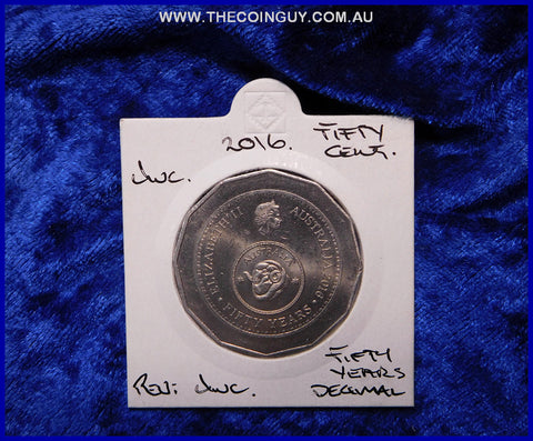 2016 Australian Fifty Cent Coins 50 Years Decimal  Unc