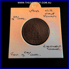 1941 New Zealand Half Penny  gChUNC