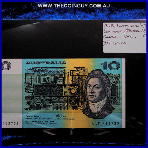 1985 Australian Ten Dollar Notes Unc