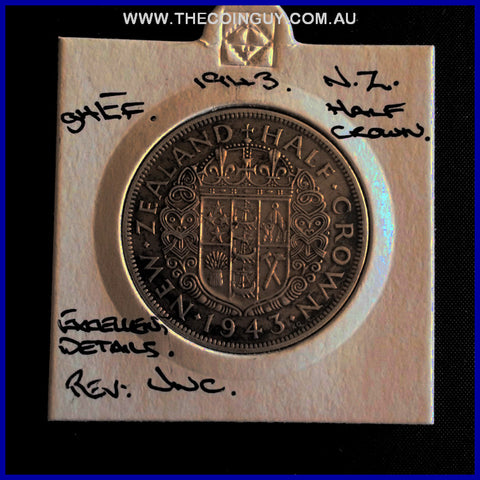 1943 New Zealand Half Crown ghEF