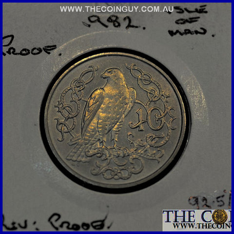 1982 Isle Of Man 10 Cents Falcon PROOF 92.5 % Silver