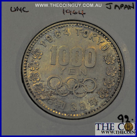1964 Japan 1000 Yen Olympic Games UNC 92.5 % Silver