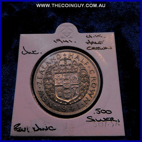 1941 New Zealand Half Crown UNC