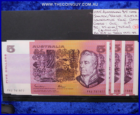 1985 Australian Five Dollar Notes Unc