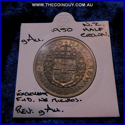 1950 New Zealand Half Crown  gAU