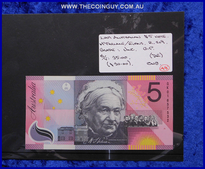 2001 Australian Five Dollar Polymer Notes Unc