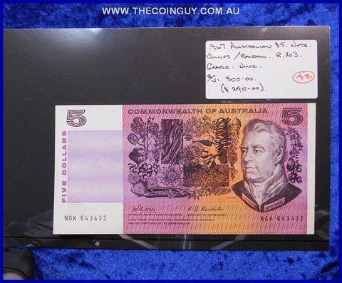 1969 Australian Five Dollar Notes Unc