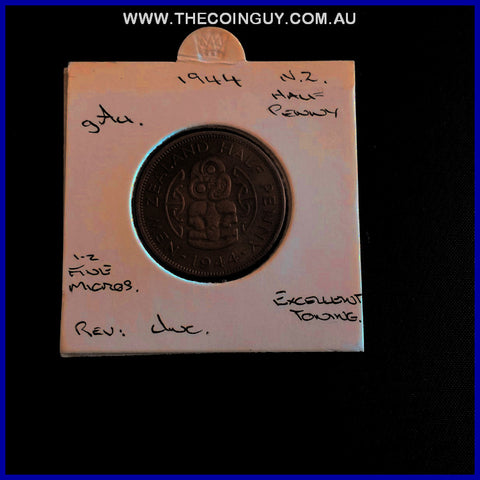 1944 New Zealand Half Penny gAU
