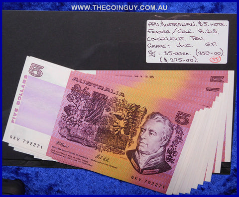 1991 Australian Five Dollar Notes Unc