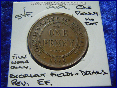1919 NO DOT Australian One Penny gVF