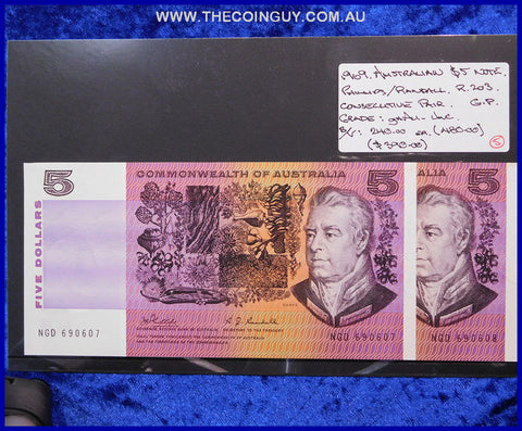 1969 Australian Five Dollar Notes ghAu-Unc