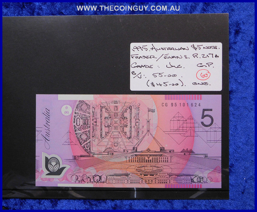 1995 Australian Five Dollar Polymer Notes Unc