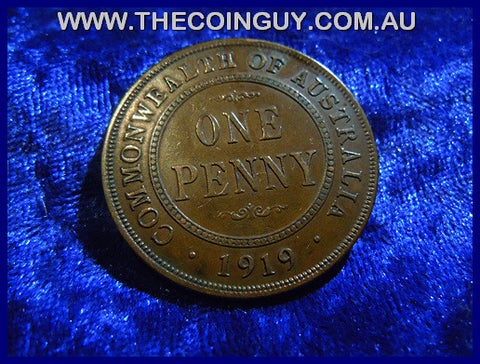 1919 NO DOT Australian One Penny VF