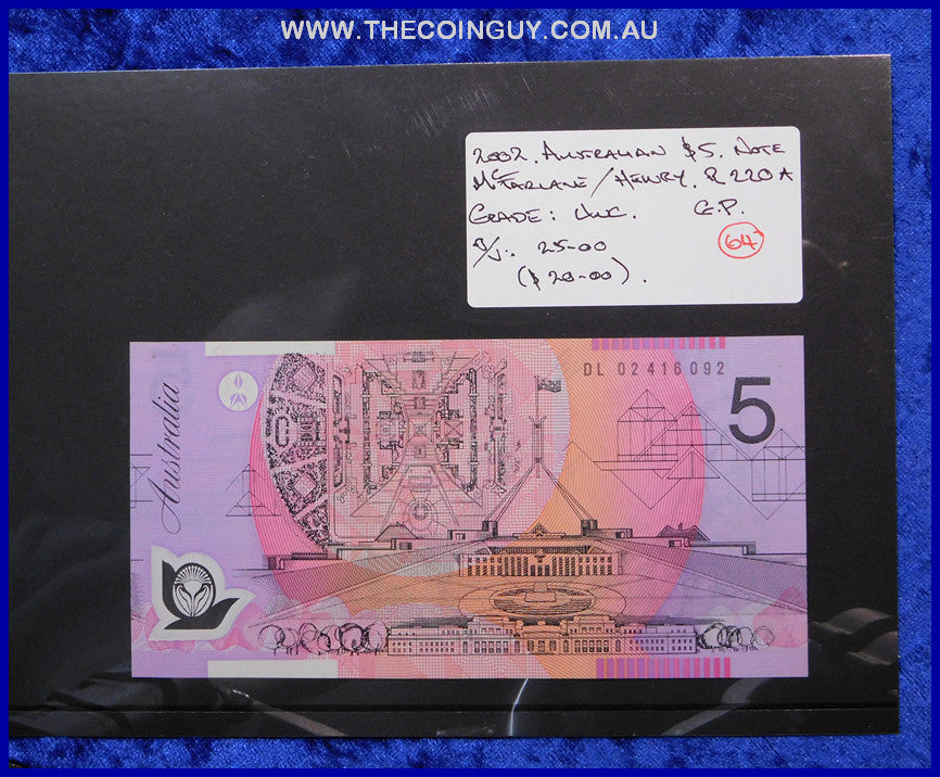 2002 Australian Five Dollar Polymer Notes Unc