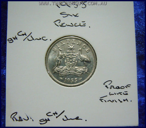 1955 Australian Sixpence ghCh/Unc