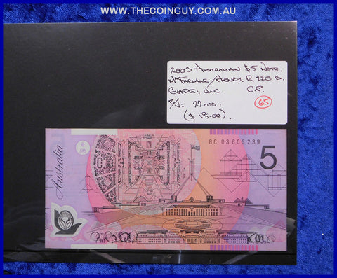 2003 Australian Five Dollar Polymer Notes Unc