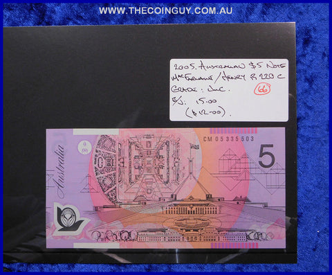 2005 Australian Five Dollar Polymer Notes Unc