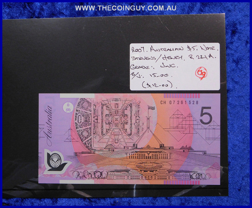 2007 Australian Five Dollar Polymer Notes Unc