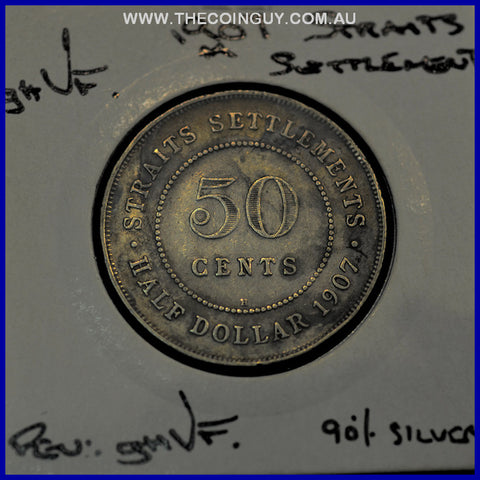 1907 Straits Settlement 50 Cents Edward Vii GH/VF 90 % Silver