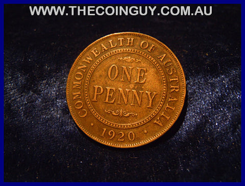 1920 DOT BELOW Australian One Penny gVF