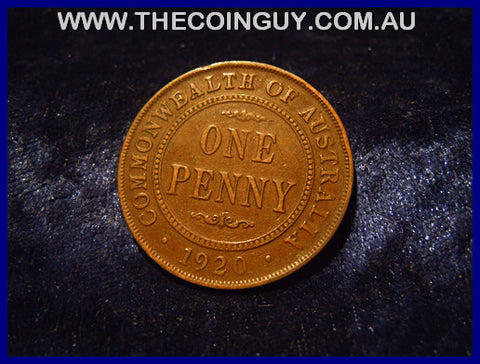 1920 DOT BELOW Australian One Penny VF