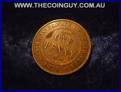 1920 DOT BELOW Australian One Penny ghFINE