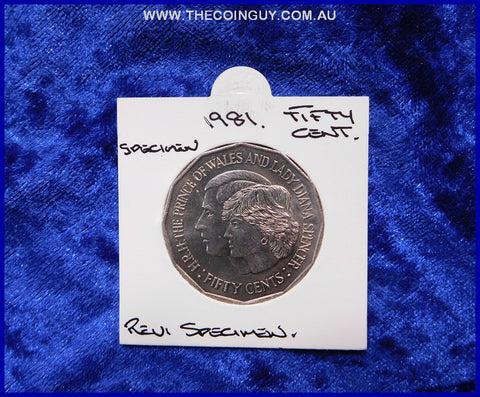 1981 Australian Fifty Cent Coins Charles & Diana  Specimen