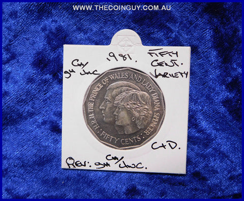 1981 Australian Fifty Cent Coins Charles & Diana  ghCh/Unc