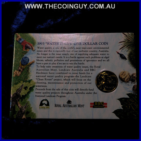 1993 Australian $1 Water Is Life - BBC Hardware Promotion On Carded Specimen