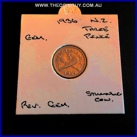1936 New Zealand Three Pence GEM