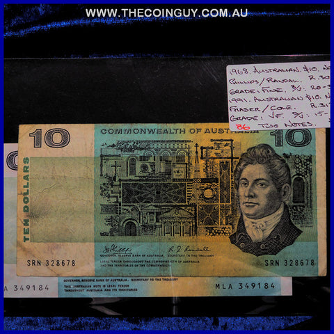 1968-1991 Australian Ten Dollar Notes Fine-VF