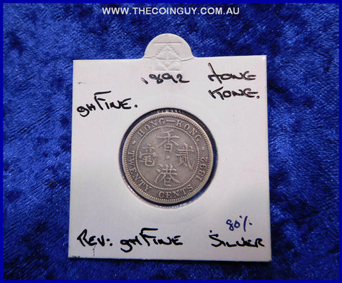 1892 Hong Kong 20 Cents Q Victoria ghFine 80 %