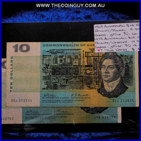 1968-1972 Australian Ten Dollar Notes gFine