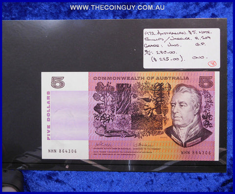 1972 Australian Five Dollar Notes Unc