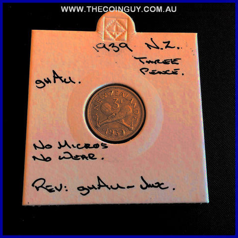 1939 New Zealand Three Pence ghAU