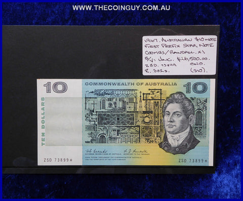 1967 Australian Ten Dollar Notes Unc First Prefix STAR note