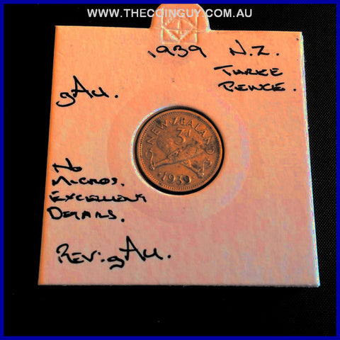 1939 New Zealand Three Pence gAU