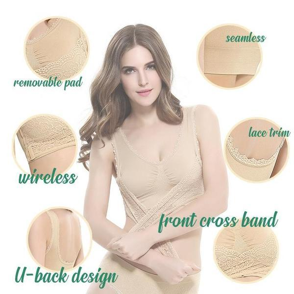 Front Cross Adjustable Side Buckle Lace Bra