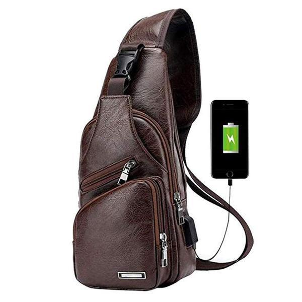 Dark Brown Crossbody Bag with USB Port