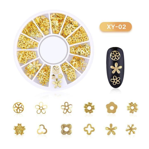 3D Hollow Nail Art Decoration Metal Mixed Shapes