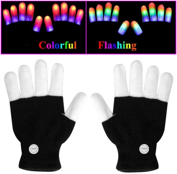 LED Gloves Finger Lights 3 Colors & 6 Modes