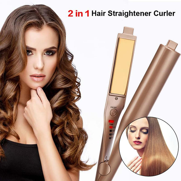 GoldHair™: 2-In-1 Straightener & Curler
