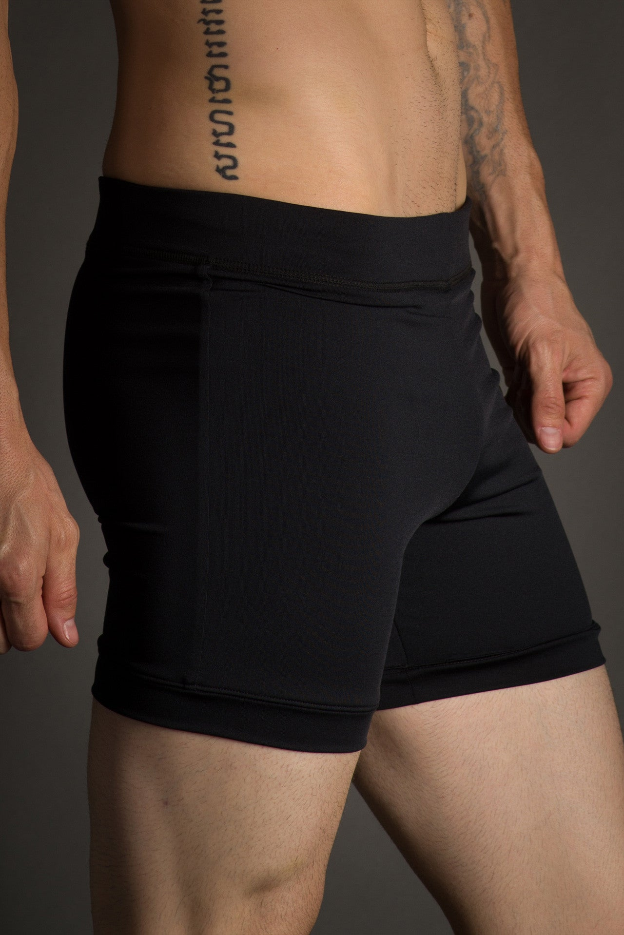Black Hot Yoga Combat Shorts