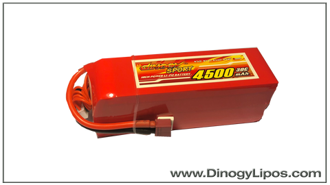 Dinogy 6s 4500mAh 30C Light weight Pack