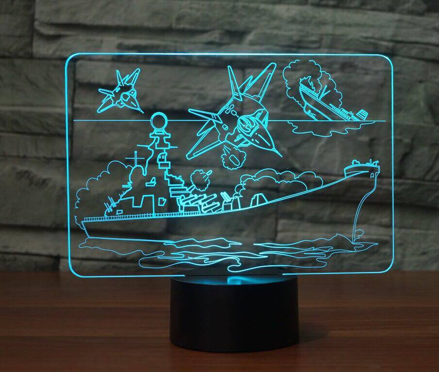 Aircraft carrier 3D LAMP 8 CHANGEABLE COLORS