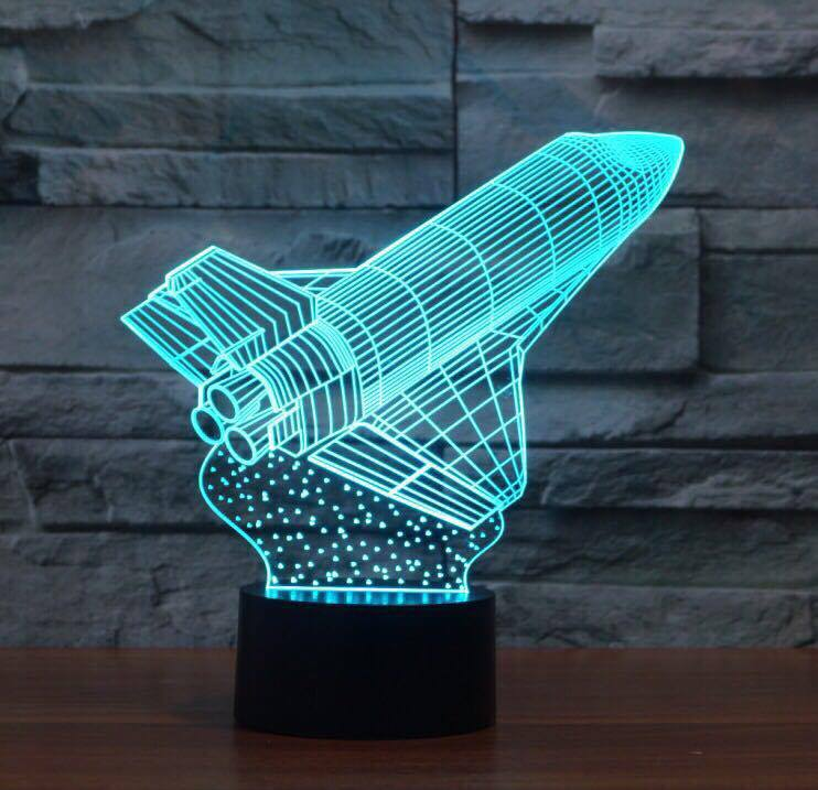 SPACECRAFT 3D LAMP 8 CHANGEABLE COLORS