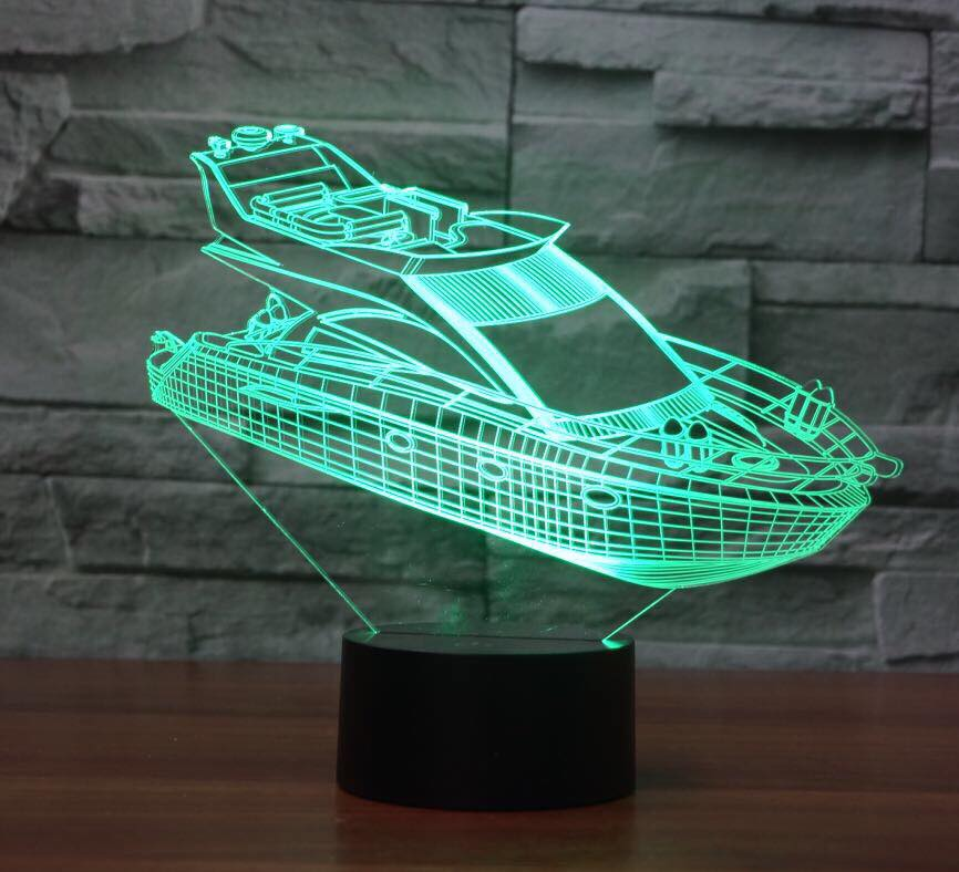 YACHT 3D  Lamp 8 Changeable Color [FREE SHIPPING]