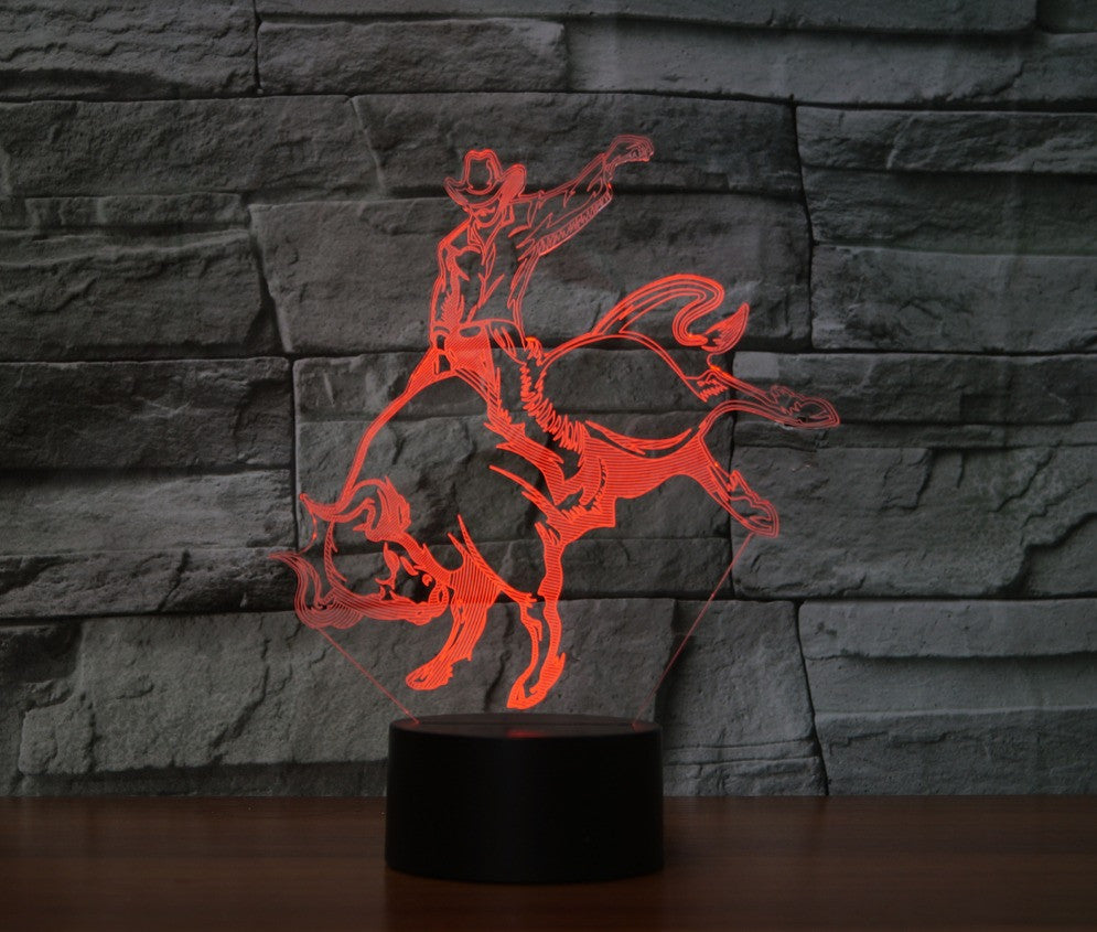 BULL RIDER  3D  Lamp 8 Changeable Color [FREE SHIPPING]